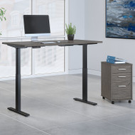 Bush Business Furniture Move 60 Series Height Adjustable Standing Desk w Storage Cocoa w Gray Base 72 x 30 - M6S012COSU