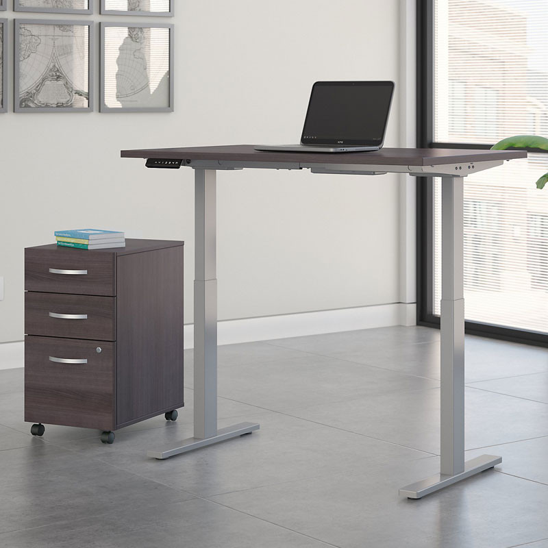 Prime Bush Business Furniture Move 60 Series Height Adjustable Standing Desk W Storage Storm Gray W Gray Base 72 X 30 M6S012Sgsu Home Interior And Landscaping Elinuenasavecom