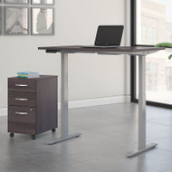 Bush Business Furniture Move 60 Series Height Adjustable Standing Desk w Storage Storm Gray w Gray Base 72 x 30 - M6S012SGSU