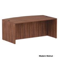 "Alera Valencia Collection Executive Bow Front Desk Shell 72"" Modern Walnut - ALE-VA227236WA"