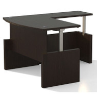"Mayline Aberdeen Executive Desk Bowfront Height Adjustable with Return 72"" Mocha - AT56"