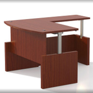 "Mayline Aberdeen Executive Desk Bowfront Height Adjustable with Return 66"" Cherry  - AT57-LCR"