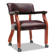 Alera Traditional Series Guest Arm Chair w/Casters, Mahogany/Oxblood Vinyl - TDC4336