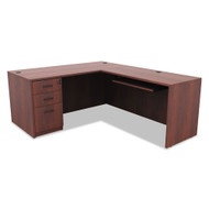 "Alera Valencia Series Desk L-Shaped 66"" Medium Cherry - VAL66"