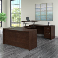 "Bush Business Furniture Series C Sit to Stand U Shaped Desk 60"" x 43"" Mocha Cherry - SRC123MRSU"