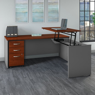 "Bush Business Furniture Series C Executive L Shaped Desk 72"" with Height Adjustable Bridge Package - SRC125HCSU"