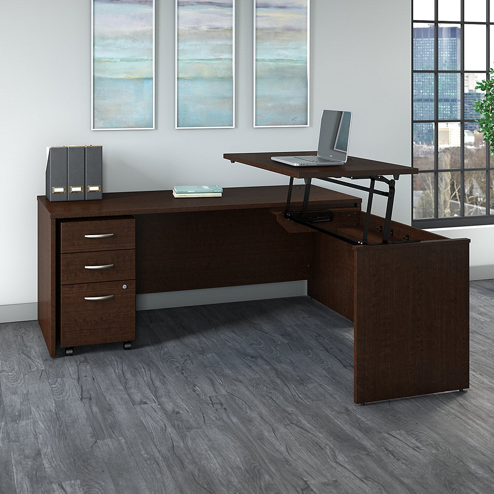 Bush Business Furniture Series C Sit To Stand L Shaped Desk With