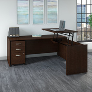 "Bush Business Furniture Series C Sit to Stand L Shaped Desk 72"" x 30"" Mocha Cherry - SRC125MRSU"