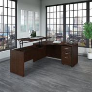"Bush Business Furniture Series C Left Hand 3 Position Sit to Stand L Shaped Desk 60"" x 43"" Mocha Cherry - SRC127MRSU"