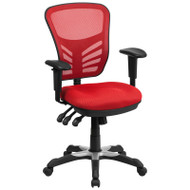 Flash Furniture Mid-Back Red Mesh Multifunction Executive Swivel Ergonomic Office Chair - HL-0001-RED-GG
