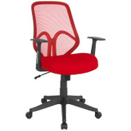 Flash Furniture Salerno Series High Back Red Mesh Office Chair with Arms - GO-WY-193A-A-RED-GG