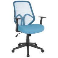Flash Furniture Salerno Series High Back Light Blue Mesh Office Chair with Arms - GO-WY-193A-A-LTBL-GG