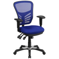 Flash Furniture Mid-Back Blue Mesh Multifunction Executive Swivel Ergonomic Office Chair - HL-0001-BL-GG
