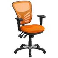 Flash Furniture Mid-Back Orange Mesh Multifunction Executive Swivel Ergonomic Office Chair - HL-0001-OR-GG