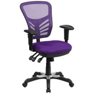 Flash Furniture Mid-Back Purple Mesh Multifunction Executive Swivel Ergonomic Office Chair - HL-0001-PUR-GG
