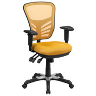 Flash Furniture Mid-Back Yellow Mesh Multifunction Executive Swivel Ergonomic Office Chair - HL-0001-YEL-GG