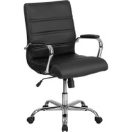 Phenomenal Flash Furniture Bt 8075 Bk Gg Mid Back Leather Office Chair Pdpeps Interior Chair Design Pdpepsorg