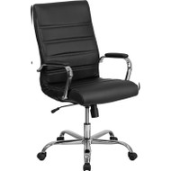 Flash Furniture High Back Black Leather Executive Swivel Office Chair with Chrome Base and Arms - GO-2286H-BK-GG