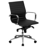 Flash Furniture Mid-Back Black Ribbed Leather Swivel Conference Office Chair with Knee-Tilt Control and Arms - BT-9826M-BK-GG