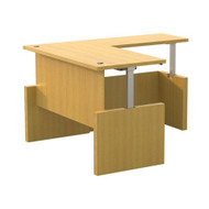 "Mayline Aberdeen Executive Height Adjustable L-Shape Desk 72"" x 36"" Maple - AT58-LMA"