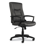 Alera YR Series Executive High-Back Swivel/Tilt Leather Chair, Black - YR4119