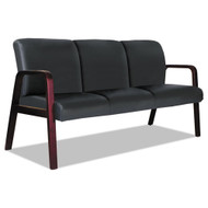 "Alera Reception Lounge WL 3-Seat Sofa, 66"" Black/Mahogany - RL2319M"