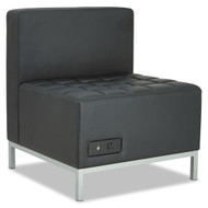 Alera QUB Series Powered Armless L Sectional, 26 3/8 x 26 3/8 x 30 1/2, Black - QB8116P
