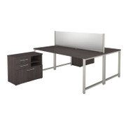 Bush 400 Series 72W X 30D 2 Person Workstation with Storage Storm Gray - 400S141SG