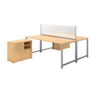 Bush 400 Series 72W X 30D 2 Person Workstation with Storage Natural Maple- 400S141AC