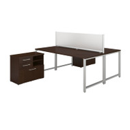 Bush 400 Series 72W X 30D 2 Person Workstation with Storage Mocha Cherry - 400S141MR