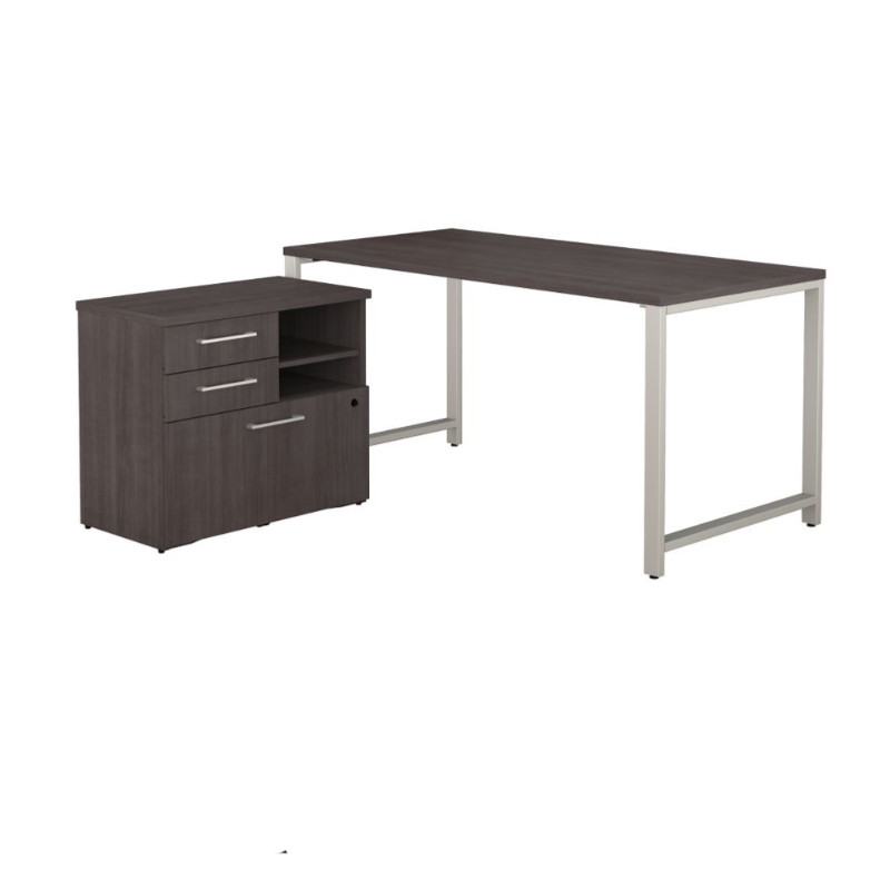 Awe Inspiring Bush Business Furniture 400 Series 60 X 30 Table Desk With Storage Storm Gray 400S155Sg Download Free Architecture Designs Pushbritishbridgeorg