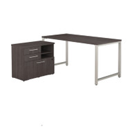 "Bush Business Furniture 400 Series 60"" x 30"" Table Desk with Storage Storm Gray  - 400S155SG"