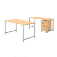 Bush Business Furniture 400 Series 60W X 30D Table Desk w Credenza and 3-Drawer Mobile File Cabinet - 400S168AC