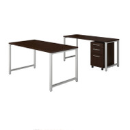 Bush Business Furniture 400 Series 60W X 30D Table Desk w Credenza and 3-Drawer Mobile File Cabinet - 400S168MR