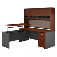 "Bush Business Furniture C Series Executive L-Shape Desk 72"" with Height Adjustable Bridge Package - SRC124HCSU"