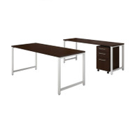 Bush Business Furniture 400 Series 72W X 30D Table Desk w Credenza and 3-Drawer Mobile File Cabinet - 400S170MR