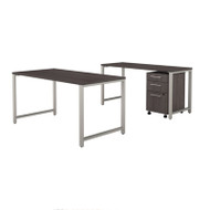 Bush Business Furniture 400 Series 72W X 30D Table Desk w Credenza and 3-Drawer Mobile File Cabinet - 400S170SG