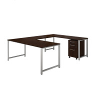 Bush Business Furniture 400 Series 72 x 30 U-Shaped Table Desk w 3-Drawer File, Mocha Cherry - 400S159MR