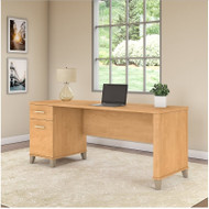 "Bush Somerset Collection Single Pedestal Desk 72"" Maple Cross - WC81472"