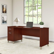 "Bush Somerset Collection Single Pedestal Desk 72"" Hansen Cherry - WC81772"