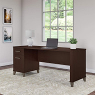 "Bush Somerset Collection Single Pedestal Desk 72"" Mocha Cherry - WC81872"