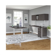 Bush Business Furniture 400 Series 72W X 30D Height Adjustable  Standing Desk, Credenza,Hutch & Storage, Storm Gray  -  400S224SG