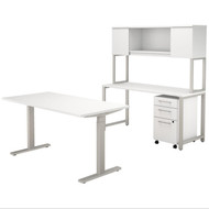Bush Business Furniture 400 Series 60W X 30D Height Adjustable  Standing Desk, Credenza,Hutch & Storage, White -  400S222WH