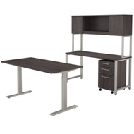 Bush Business Furniture 400 Series 60W X 30D Height Adjustable  Standing Desk, Credenza,Hutch & Storage, Storm Gray -  400S222SG