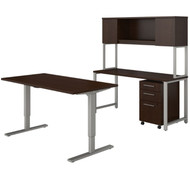 Bush Business Furniture 400 Series 60W X 30D Height Adjustable  Standing Desk, Credenza,Hutch & Storage, Mocha Cherry -  400S191MR