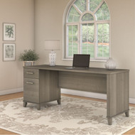 "Bush Somerset Collection Single Pedestal Desk 72"" Ash Gray - WC81672"