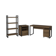 "Bush Latitude 60""W Writing Desk with Cabinets and Bookcase - LAT005RB"