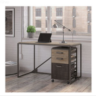 "Bush Refinery 50""W Industrial Desk with 3-Drawer Mobile File Cabinet - RFY006RG"