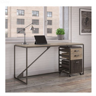"Bush Refinery 62""W Industrial Desk with 3-Drawer File Cabinet - RFY005RG"