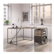 "Bush Refinery 50""W L-Shaped Industrial Desk with 37""W Return and Mobile File Cabinet  - RFY004RG"